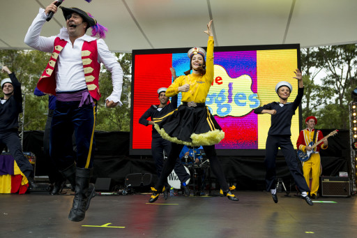 The Wiggles perform for a packed crowd in Darling Harbour