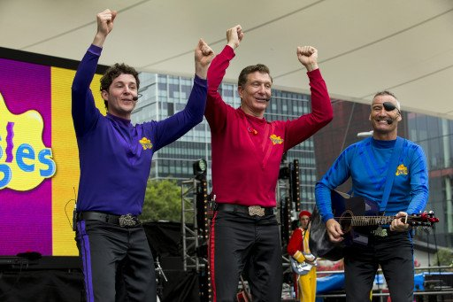 The Wiggles perform for a packed crowd at Darling Harbour