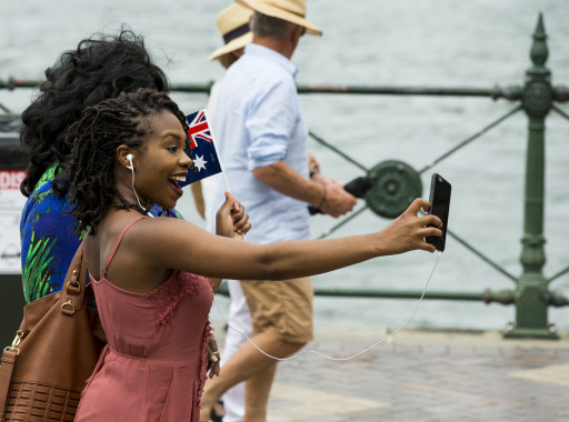 Selfie time at Circular Quay on Australia Day
