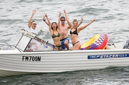 Revelers enjoying the harbour and Athol Bay on Australia Day