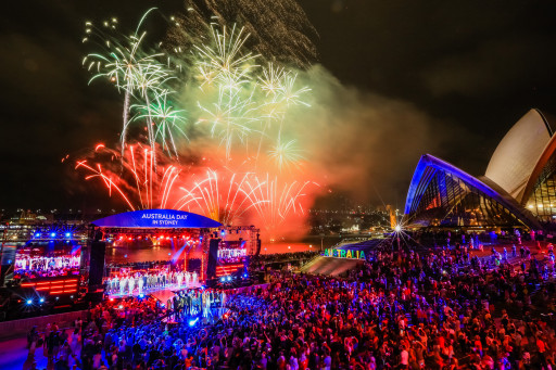Fireworks during Australia Day Live at the Sydney Opera House