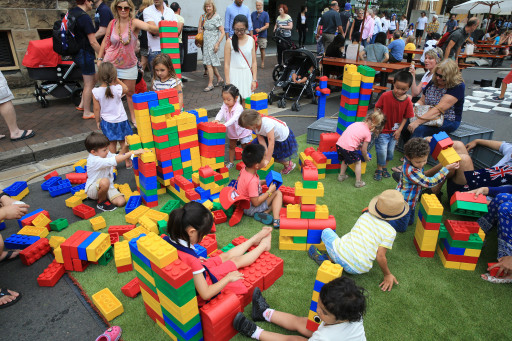 Kids playing with giant lego during Australia Day in the Rocks