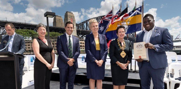 Alex Greenwich, Tanya Plibersek, Clover Moore, at the Lord Mayor's Citizenship Ceremony in 2016