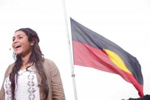 Atahlia Sutherland singing the national anthem. Credit: Gareth Christian
