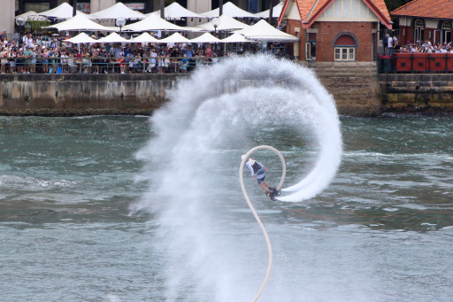 Jetpack acrobatics on Sydney Harbour during Australia Day 2018