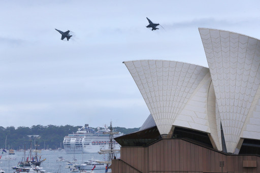 Flying over the Opera House on Australia Day 2018