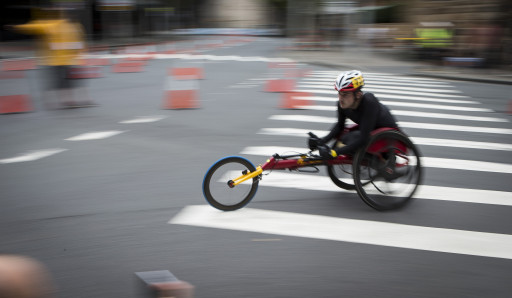 Athletes racing in the GIO Oz Day 10k Wheelchair Race in The Rocks on Australia Day 2018