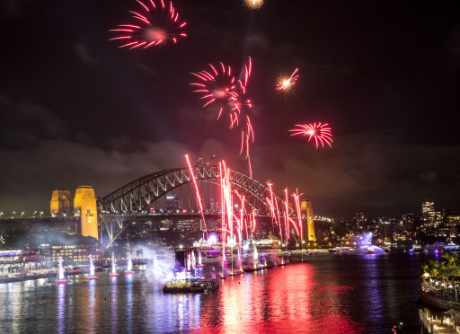 Fireworks during Live at the Quay! on Australia Day 2018