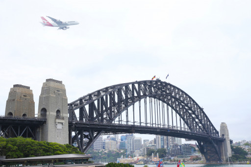 Qantas A380 flying over Sydney Harbour Bridge on Australia Day 2018