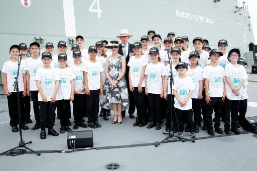 School choir with His Excellency General The Honourable David Hurley AC DSC Retd Governor of NSW and Mrs Hurley