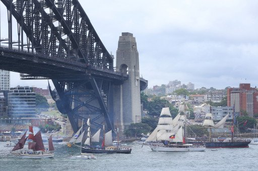 Tall Ships Racing to the finish under the Sydney Harbour Bridge on Australia Day 2018