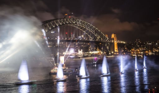 Yachts lit up on Sydney Habour during Live at the Quay! on Australia Day 2018